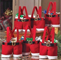 Wholesale Santa Pants Gift - New Hot Santa pants style Christmas candy gift bag Xmas Bag Gift 20pcs lot