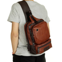 Wholesale Leather Fashion Backpack Vintage - Wholesale- New Fashion Men Messenger Bags Casual Mens Leather Chest Bags Big Chest Back Pack Male Shoulder Bag Travel Bags PT1123