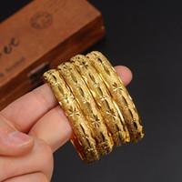 pulseiras árabes venda por atacado-1 pc Mais Novo Mulheres Dubai Bangle 24 K Pulseira De Cor Do Ouro Pulseira Africano / Árabe / Etíope Da Noiva Jóias De Casamento