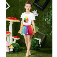 Wholesale Rainbow Dress For Baby Girl - Rainbow Candy Color Baby Set Cotton T-short High Quality Tutu Dresses For Girl Baby Bestie Clothing