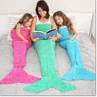 Wholesale Wool Cloth For Children - 140*70cm bedding article mermaid tail blanket for child knitting wool cloth bag blanket Air conditioning blanket for sofa lunch break