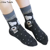 Wholesale Polar Bear Socks - Wholesale-Women Sock Cotton Sweat Cartoon Polar Bear Rabbit Printing Dot Standard Sock Calcetines Mujer #2801