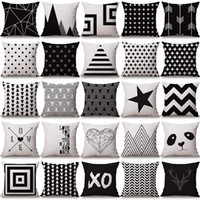 Wholesale Throw Pillows For Sofas - halloween Christmas black white pillowcase geometry Cushion covers Cotton linen pillow cover for Sofa bed Nordic Throw Pillow case