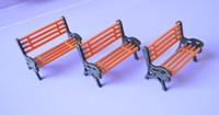 Wholesale Wholesale Bench Chairs - Wholesale- 20PCS LOT 1:75 HO Scale Park Garden Bench Model Landscape Scenery abs plastic model chairs
