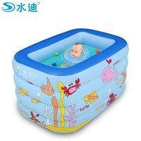 Wholesale Inflatable Kids Swimming Pool - Wholesale- Inflatable Pool Portable Cartoon 4layers children splashing ocean balls sand tub baby swimming pool kids bathtub 130x85x70cm