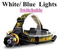 Wholesale Blue Light Led Headlamp - White Blue Light Switchable Waterproof CREE XML T6 Zoom LED Headlight Headlamp Head Lamp Light Zoomable Adjust Focus For Bicycle Camping