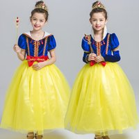 Wholesale Tassel Short Costumes - Halloween Party Cosplay Costume Princess Snow White Tulle Tassel Dress Lace Bowknot Short Sleeve Bubble Skirt