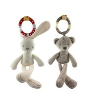 Wholesale Doll Prams - Wholesale- Baby Toy Crib Stroller Toy Rabbit Bunny Bear Soft Plush infant Doll Mobile Bed Pram kid Animal Hanging Ring