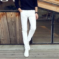 Wholesale Teenager Leggings - Wholesale- Fashion 2017 Summer Casual Thin Youth business white Stretch jeans pants male teenagers trousers Skinny jeans men leggings