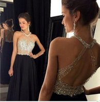 Wholesale Womens Pageant Gowns - Sexy Black Prom Dress 2016 Long Halter Beaded Backless vestidos de fiesta Formal Evening Dresses Maxi Womens Formal Pageant Gown