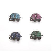 Wholesale Pave Gold Diamond Charm - Fashion Diamond Pave Elephant ECO-Friendly Elephant Shape Micro Pave Charm, CZ Connector, 4 Colors, ICSP037, Size 22.5*18.3mm