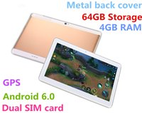 Wholesale Sim Card Pc Tablets - 10.1 inch Metal case Tablet android tablet PC Octa Core RAM 4GB ROM 64GB 2560X1600 IPS Dual sim card Phone Call Tablet PC Android 6.0 GPS 3G