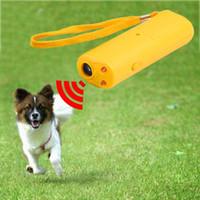 köpek kontrol cihazı toptan satış-LED Ultrasonik Anti Bark Barking Köpek Eğitim Kovucu Kontrol Trainer cihazı 3 in 1 Anti Barking Dur Bark Köpek Eğitim Cihazı
