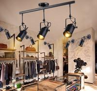 Wholesale vintage track switch resale online - Retro Loft Vintage LED Track Light Industrial Ceiling Lamp Bar Clothing Personality spotlight Light Three Heads LLFA