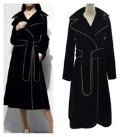 Wholesale Color Block Maxi - 2017 new women's spring autumn design fashion gold black color block sashes with belt velvet maxi long trench coat casacos SMLXL