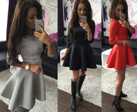 Wholesale hot spandex mini skirts - Hot Fold 3 4 Sleeves Dresses Wild Casual Dresses Skirt Round Neck Solid Color Big Swing Dress ST953