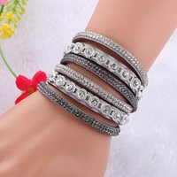 Wholesale rope wraps - New Multilayer Crystal Wrap Bracelet Rhinestone Deluxe Bracelet Double Wrap Leather Bangle Jewelry Accessories for Women Gift