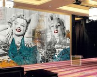 Wholesale Vinyl Marilyn - Wholesale Sexy Marilyn Monroe 3d Wall Photo Murals Vinyl Wallpaper for Living Room and Bedding room 3d Wall Murals Fresco