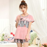 Wholesale Pajama Sets For Girls - Wholesale- Brand quality 2017 Summer Style Women's Pajamas Sleep Lounge Short Sleeve Pyjamas Women Pajama Sets Girls Sleepwear for Woman