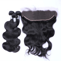 Wholesale Wholesale Remy Bulk - Free Shipping!! High Quality 8A Brazilian Malaysian Peruvian Indian Virgin Human Remy Body Wave with 13*4 Lace Frontal Hair Extensions