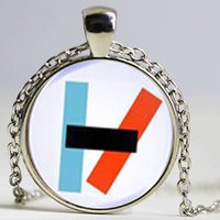 Wholesale Alternative Gifts - 2017 New Twenty One Pilots Alternative Band Blurryface Microphone Necklace Glass Cabochon Necklace Women mens Chain