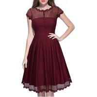 ingrosso grande vestito del bordo-Nuovo nero rosso blu donne retrò vestito Audery vintage elegante 1950S 60S manica corta grande orlo pizzo abiti da partito feminino vestidos DK9015CL