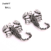 Wholesale Gold Scorpion Pendant - SWEET BELL Min order 6pcs 38*50mm Antique Silver Metal Zinc Alloy Animal Scorpions Pendant Charms Fit Diy Jewelry Making D6132