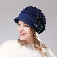 Wholesale Berets Fedoras - Wholesale-Promotion New Lady Beret high-quality Hat Fedoras Cap Female Fashion Summer Outdoor Folding Windproof Hat B-3011