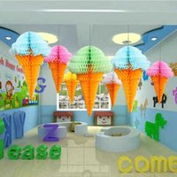 """Wholesale Ice Cream Favors - 12""""32cm Ice Cream Honeycomb Balls Paper Lanterns Wedding Decorations Kid Baby Shower Favors Event Party Birthday Party Supplies"""