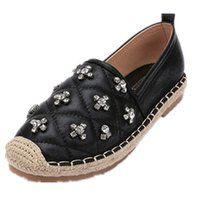 Wholesale Design Espadrilles - Crystal Design Women Loafers Platform Flat Shoes Woman Espadrilles Slip on Round Toe Casual Summer Shoes Black Silver Size35-40