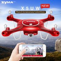 rc helicóptero rotor cámara al por mayor-Syma Camera X5UW Drones con cámara WiFi HD 720P Transmisión en tiempo real FPV Quadcopter 2.4G 4CH RC Helicóptero Dron Quadrocopter