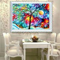 Wholesale 3d Kit Decorations - Rainbow Tree Painting DIY 5D Diamond stitch Round 3D Diamond Stitch Tools Kit diamond mosaic Room Decor