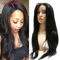 Wholesale Long Brown Human Hair Top - Glamorous Human Hair Full Lace Wig Brazilian Body Wave Straight 18 20 22 24 26 28 30inches Silk Top Lace Front Hair Wigs