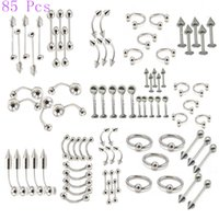 Jóias para o corpo 85 Pcs Tongue Stud Mixed Suit Stainless Steel Nail Eyebrow Lip Nail Screw Navel Ring Puncture Acessórios