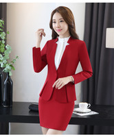 Wholesale Female Business Blazer - Professional womens Dress Suit Female Blazers with OL skirt Career Business suits free shipping DK851F