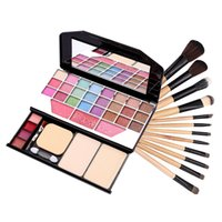 Wholesale Eye Shadow Palette Leopard - Wholesale-12 PCS Professional Makeup Brush Set with Leopard Bag Makeup Palette Combo eye shadow lip gloss blusher powder Cosmetic Set