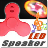 Wholesale Lights For Fingers - E104 F100 New LED Light MINI Bluetooth Hand Fidget Spinner Music Speaker Perfect For ADD,ADHD,Autism and Pressure Relief Finger Toy