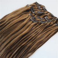 extensões de cabelo remy clip 24 polegadas venda por atacado-# 3/27 Grampo de Piano Em Extensões Do Cabelo Humano 7 pcs 100g Em Linha Reta Cabelo Virgem Indiano Remy Destaque Clipe Ins 14-24 polegada