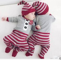 Wholesale Toddler Christmas Scarf - INS Baby Kids Rompers Christmas toddler kids Scarf Buttons Printed Rompers Infants Stripe Long Sleeve Cotton Jumpsuits Kids Clothing G1253