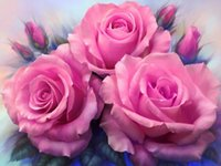 Wholesale Unfinished Embroidery - DIY Diamond Embroidery 5D Flower Diamond Cross Stitch Crystal Square Diamond Sets Unfinished Decorative Handcraft Painting Rose A1496