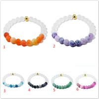 Wholesale Ancient Stone Bead - Ancient silver nature stone double color bead bracelets wristband for women men fashion jewelry gift