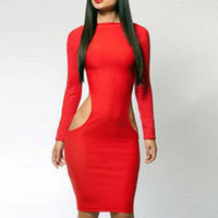 Wholesale Red Cut Out Bodycon Dress - Sexy Cut Out Bodycon Clubwear Dress Rose Red Black Long Sleeve Casual Lady Robe Stretch Summer Spring Vestido Sundress W203771