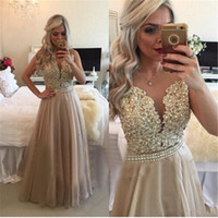 Wholesale Champange Lace Dress - 2017 Champange A Line Mother of the Bride Gowns Long Sheer Jewel Neck Mother Dresses with Lace Decals Crystal Prom Gowns Hot Sale