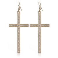 mädchen goldkreuze großhandel-2017 Fashion cross-aussage ohrringe kristall gold silber große böhmische ohrringe für teen mädchen großhandel schmuck lieferanten
