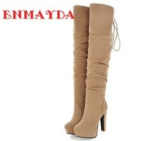 Wholesale Warm Long Shoes For Woman - Wholesale-ENMAYDA Big Size 34-43 High Over-the-Knee Boots for Women Flock Tassel Ladies Long Boots Sexy Winter Shoes Warm Shoes Pumps