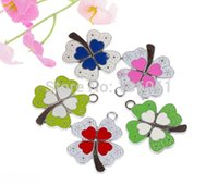 100PCs Mixed Enamel Clover Charms Pendant Vintage Silver Dangle For Bracelet Necklace Fashion Jewelry Making Beads Acessórios DIY X248
