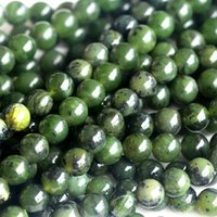 "Wholesale Green Jade Loose - Wholesale- Wholesale Natural Genuine Canada Green Jade Round Loose Stone Beads 3-18mm Fit Jewelry DIY Necklaces or Bracelets 15"" 04023"