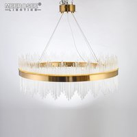 Wholesale Crystal Suspension Light - New Arrival LED Pendant Light Crystal rods Hanging Lamp for Dinning room Gold Circle Suspension Lamparas Lustres Abajur