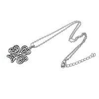 Wholesale clover design necklaces - Fashion Simple Design Metal Alloy Love Knot Four Leaf Clover Lucky Knot Pendant Necklace Jewelry Best Gift