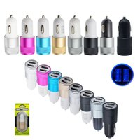Wholesale 3 Type Colorful Dual USB Port Car Charger Universal For Iphone Android phone Samsung Galaxy NOKIA HTC MOTOROLA with retail box